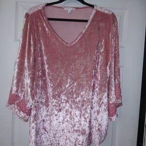 Ladies Size 2XL Pink Velour Top